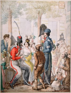Emanuel Oil Painting - Cosaques a Paris pendant occupation des troupes alliees en 1814 Georg Emanuel Opiz caricature