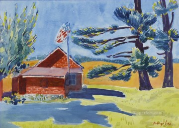 George Luks Painting - OLD SCHOOLHOUSE RYDERS George luks water color