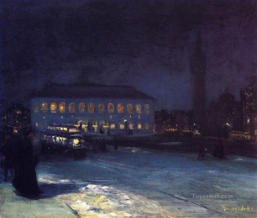 Artworks by 350 Famous Artists Painting - copley square George luks cityscape street scenes