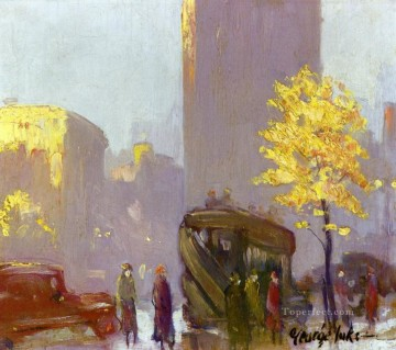 George Luks Painting - fifth avenue new york George luks cityscape street scenes autumn