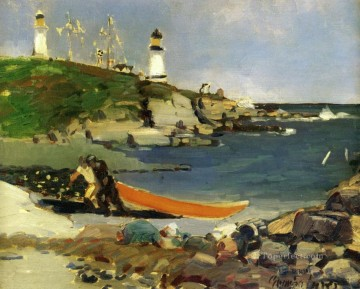 George Luks Painting - hannaford s cove 1922 George luks scenery beach lighthouse