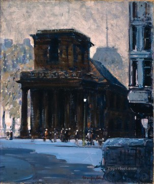 George Luks Painting - king s chapel boston 1923 George luks cityscape street scenes