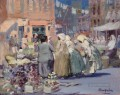 Spring Morning Houston and Division Streets New York George luks cityscape scenes
