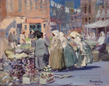 George Luks Painting - Spring Morning Houston and Division Streets New York George luks cityscape scenes