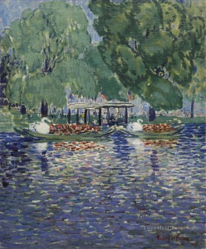 George Luks Painting - THE SWAN BOATS George luks scenery