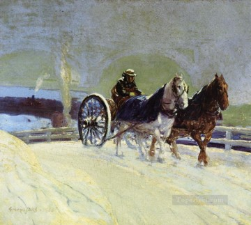 George Luks Painting - hitch team 1916 George luks carriage