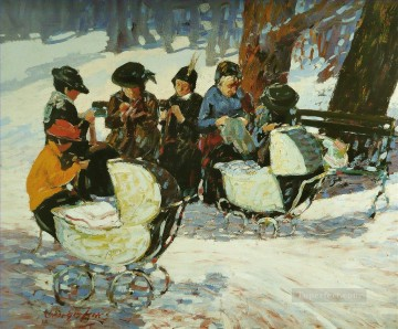 George Luks Painting - knitting for the soldiers high bridge park George luks