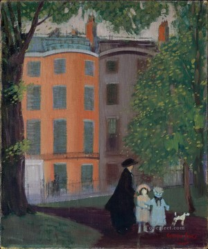 George Luks Painting - view of beacon street from boston common 1923 George luks