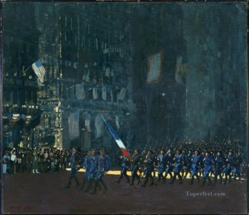 George Luks Painting - blue devils on fifth avenue 1918 George luks cityscape street scenes