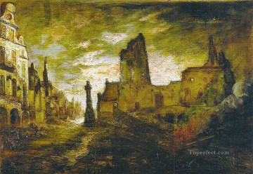 George Washington Lambert Painting - destruction of arras 1916 George Washington Lambert
