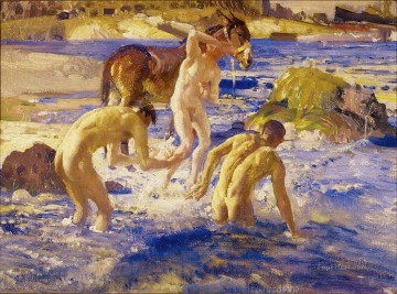 Anzacs bathing in the sea George Washington Lambert Oil Paintings