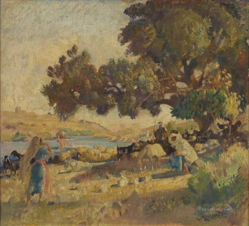 George Washington Lambert Painting - THE FORD ACROSS THE JORDAN AT JIZRA BENAT JACOB George Washington Lambert portraiture
