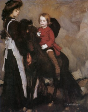 George Washington Lambert Painting - equestrian portrait of a boy George Washington Lambert portraiture