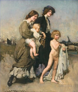 George Washington Lambert Painting - The holiday group The bathers George Washington Lambert portraiture