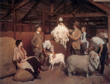George Washington Lambert Painting - weighing the fleece 1921 George Washington Lambert portraiture