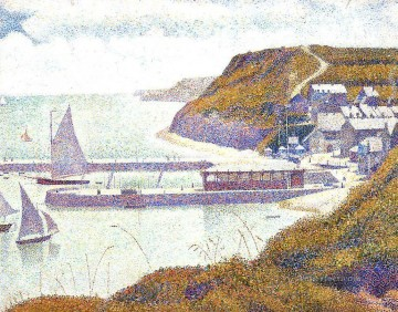 Harbour Painting - harbour at port en bessin at high tide 1888