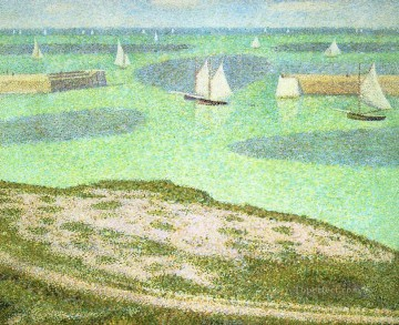 Georges Seurat Painting - port en bessin entrance to the harbor 1888