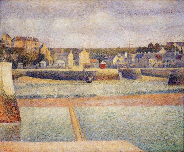 Georges Seurat Painting - port en bessin the outer harbor low tide 1888