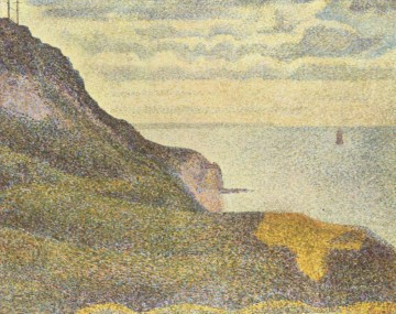 Cliffs Painting - port en bessin the semaphore and cliffs 1888