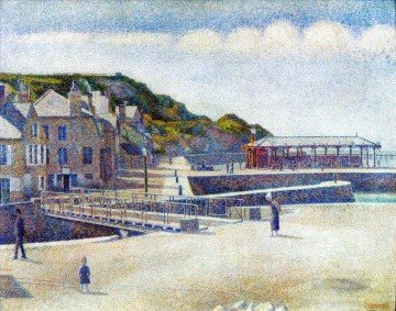 Harbour Painting - the harbour and the quays at port en bessin 1888