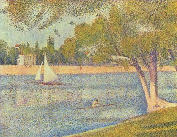 Georges Seurat Painting - the river seine at la grande jatte 1888