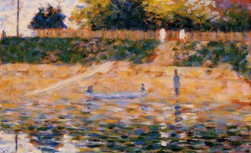 Georges Seurat Painting - boats near the beach at asnieres 1883