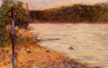 Georges Seurat Painting - a river bank the seine at asnieres 1883