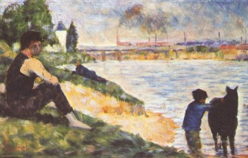 Georges Seurat Painting - boy with horse 1883