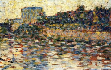 Georges Seurat Painting - courbevoie landscape with turret 1884