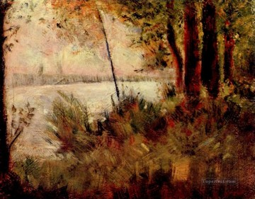 Georges Seurat Painting - grassy riverbank 1881