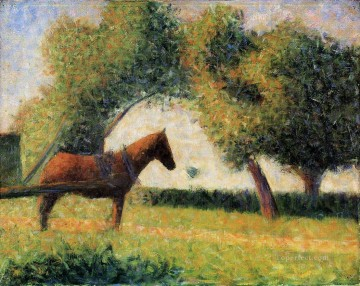 Georges Seurat Painting - horse cart 1884