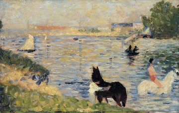 Georges Seurat Painting - horses in the water 1883