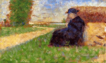 Georges Seurat Painting - large figure in a landscape 1883