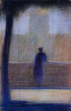 Georges Seurat Painting - man leaning on a parapet 1881