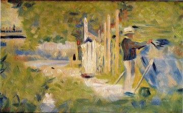 Georges Seurat Painting - man painting his boat 1883