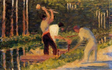 Georges Seurat Painting - men laying stakes 1883