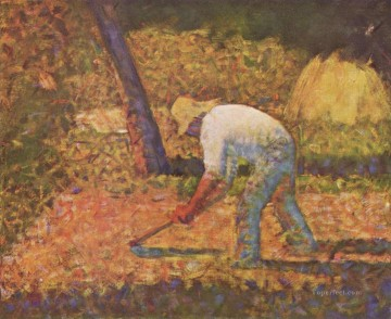 Georges Seurat Painting - peasant with hoe 1882