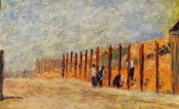 Georges Seurat Painting - peasants driving stakes 1882