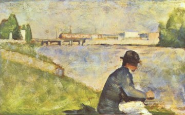 Georges Seurat Painting - seated man study for bathers at asnieres 1883