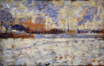 Georges Seurat Painting - snow effect winter in the suburbs 1883