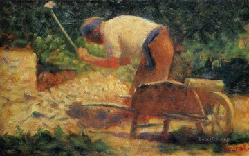 Georges Seurat Painting - stone breaker and wheelbarrow le raincy 1883