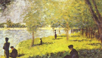 Georges Seurat Painting - study with figures study for la grande jatte 1885