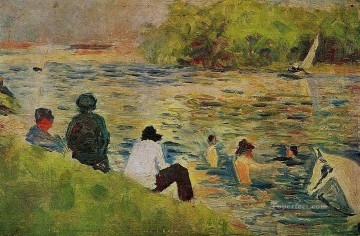 Georges Seurat Painting - the bank of the seine 1884