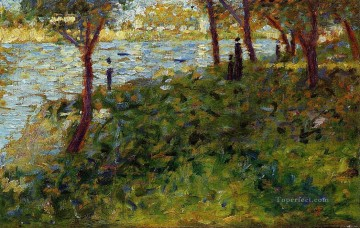 Georges Seurat Painting - landscape with figure study for la grande jatte 1885