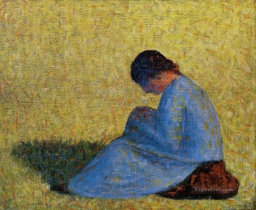 Georges Seurat Painting - peasant woman seated in the grass 1883