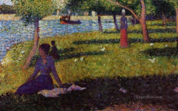 Georges Seurat Painting - seated and standing woman 1884