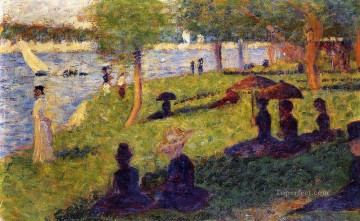 Georges Seurat Painting - woman fishing and seated figures 1884