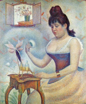 young woman powdering herself 1890 Oil Paintings