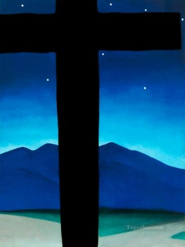 black cross with stars and blue Georgia Okeeffe American modernism Precisionism Oil Paintings