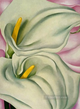 two calla lilies on pink Georgia Okeeffe American modernism Precisionism Oil Paintings